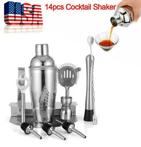 12x Home Cocktail Shaker Set Stainless Steel Bartender Kit Drink Mixing Bar Tool