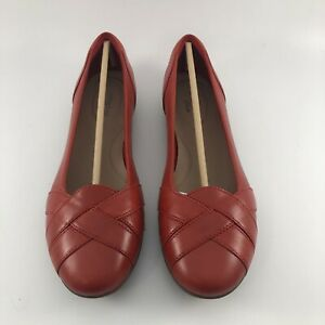 Clarks Gracelin Mia Womens Red Leather Ballet Casual Flat Shoes Size 9.5 M $43.00