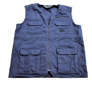 LL Bean Kids Youth Vest Utility Fishing Blue Zip Pockets Size XL Outdoors Cotton