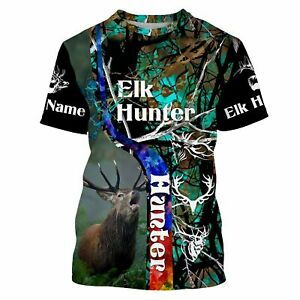 Custom Name Beautiful ELK Hunting Teal And Brown Camouflage Shirts
