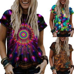 Womens Print Short Sleeve T shirt Ladies Summer Round Neck Casual Blouse Tops US $14.29