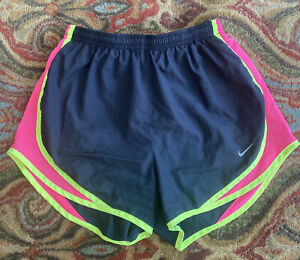 Nike Dri fit Running Shorts Black Pink And Neon Yellow Size Small $12.50
