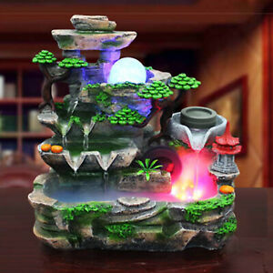 Indoor Water Fountain With LED Light And Mist Resin Rockery Waterfall Home Decor $76.95