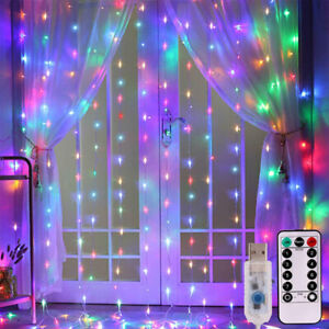 Curtain Fairy Hanging String Lights Christmas Wedding Party Home Decor 300 LED $9.98