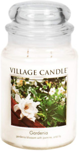 Village Candle Gardenia Large Glass Apothecary Jar Scented Candle 21.25 oz Whi