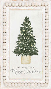 Wish You Merry White 24.25 x 14.25 Beaded Wood Holiday Framed Textured Sign $63.95
