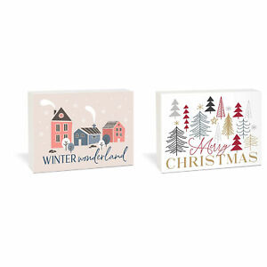 Winter Wonderland Merry White 7.25 x 5.5 Wood Holiday Reversible Tabletop Décor $17.95