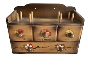 Vintage Wooden Sewing Notions Wall Mount Box Japan $14.99