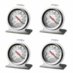 4 PCS Refrigerator Freezer Thermometer Large Dial Thermometer Stainless steel