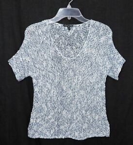 EILEEN FISHER WOMENS MARLED OPEN WEAVE TOP XS X SMALL SHIRT SWEATER PULLOVER WOW $24.00