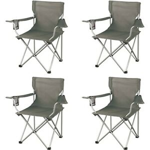 Folding Camping Chair SET OF 4 Portable Outdoor Chairs Cup Holder Fishing Beach