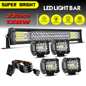 20 22inch LED Light Bar Spot Flood Combo 4quot; Pods Offroad For Jeep Truck SUV $45.59