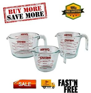 Glass Measuring Cup Set For Home Kitchen 3 Piece Microwave Oven Safe durable New
