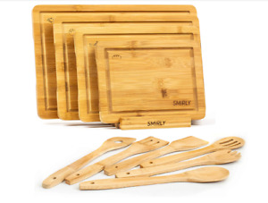 Smirly Bamboo Cutting Board Set: Wood Cutting Boards for Kitchen Wood Cutting B