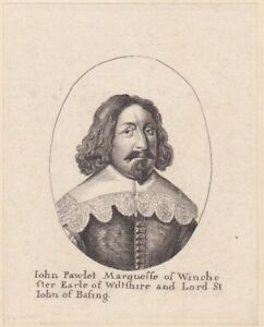 c1790 Two Antique Portraits John Paulet 1598 1675 5th Marquess of Winchester $10.00