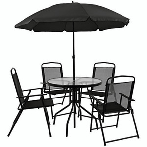 Flash Furniture 6 Piece Black Patio Garden Set with Umbrella Table and Set of 4