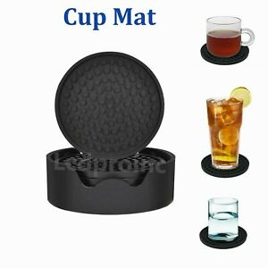 Silicone Drink Coasters Set of 6 piece Holder Non Slip Cup Mat Pad Round Rubber