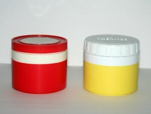2 Vintage Thermos King Seeley Insulated Jar Food Soup Containers 1155 Yellow Red