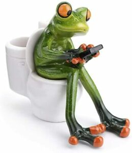 Frog Figurine Statue Pencil Holder Funny Green Frog Texting On Toilet Collectibl
