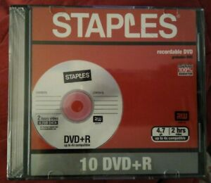 Staples 10 Pack DVD R Recordable DVD 4.7 GB each in its own Individual Case