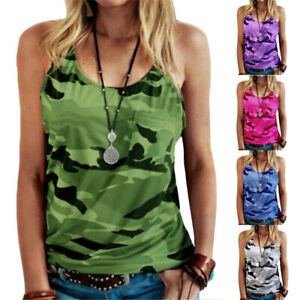 Womens Summer Camouflage T Shirt Tank Ladies Casual Vest Tops Blouse Plus Size