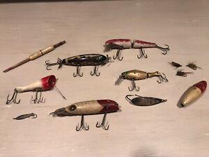 Vintage Wooden Fishing Lures Bobber Silver Spoon Misc
