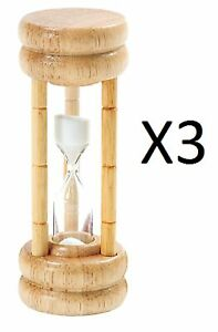 Norpro 3 Minute Timer Hourglass Egg Game Timer Wood Base w Glass 1473 3 Pack