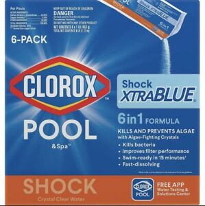 Clorox Pool amp; Spa Shock Xtra Blue 6 in 1 formula 6 Pack Sealed Box Ship Now🚀