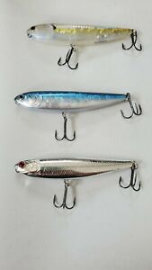 Lot of 3 Lucky Craft Topwater Fishing Lures SAMMY 4quot; Chrome Blue Clear