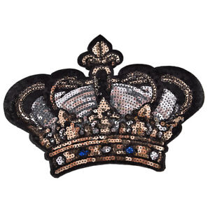 Large Crown Patch Badge Cartoon Sequin Iron On Sewing On For Clothes SticXG C $1.97