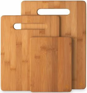 3 Piece Bamboo Cutting Board Set Wooden Kitchen Boards for Food Prep and...
