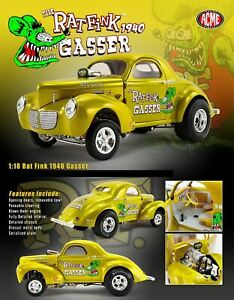 New Acme 1:18 Ed Roth Rat Fink 1940 Gasser Dragster Gold A1800919