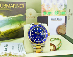 ROLEX 18kt Gold amp; SS Submariner SEL Blue Dial Box And Papers 16613 SANT BLANC