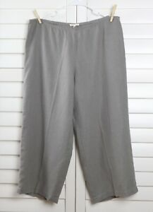 EILEEN FISHER $168 Gray 100% Linen Side Zip Elastic Cropped Pants Size Large