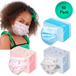 50pk 3 Ply Kids Face Mask Disposable Child Size Mouth Nose Cover with Ear Loops $7.99