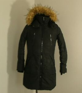 Womens GUESS Jeans Parka Jacket Coat Black Size SMALL $6.99