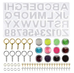 Letter Number Alphabet Resin Silicone Molds for Epoxy Molds DIY Making Keychain