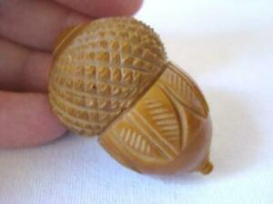 Old SEWING Needle Thimble Pin Holder ACORN SHAPE Carved Coquilla Nut ETUI #3 $94.95