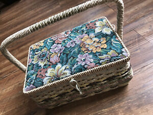 Vintage Dritz Sewing Basket Box 1950s 1960s Wicker Japan RARE Green Floral $25.00