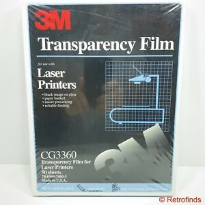 3M Laser Printer Paper Backed Transparency Film 50 Count CG3360