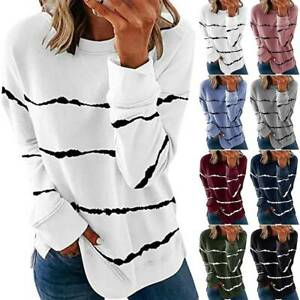 Womens Long Sleeve T Shirt Stripe Loose Top Tee Plus Size Casual Blouse Pullover $16.62