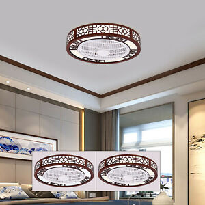 Square Round Ceiling Fan Light Modern LED Fans Chandelier Remote Control Lamp $147.05