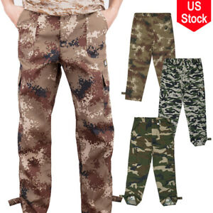 Mens Camouflage Army Combat Pants Workout Loose Trousers Military Cargo Pants US