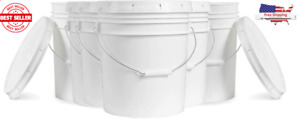Food Grade White Plastic Bucket with Handle and Lid BPA Free 5 gallon Set of 6