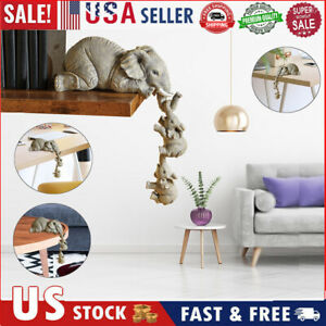 Resin Elephant Figurines Set of3 Mother and Two Babies Hanging Off Edge Craft US $11.77