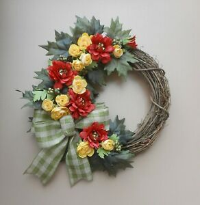 17quot; Red Yellow Ranunculus Green Berry Maple Leaf Floral Fall Grapevine Wreath $25.19
