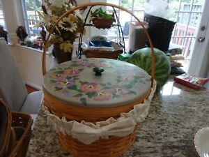 LONGABERGER LARGE SEWING BASKET COMBO WITH UNIQUE PAINTED WOOD LID $84.99