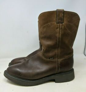 Justin Work Boots Mens 11 EE Conductor Original Pull On Brown Leather 4760 USA