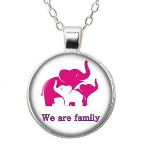Elephant Silver color Pendant Necklace Glass Cabochon Woman Girls Jewelry Gift $1.79