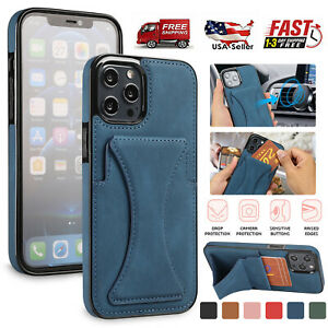 Leather Wallet Card Holder Stand Case For iPhone 13 12 Pro Max 11 XS XR 8 7 Plus $9.53